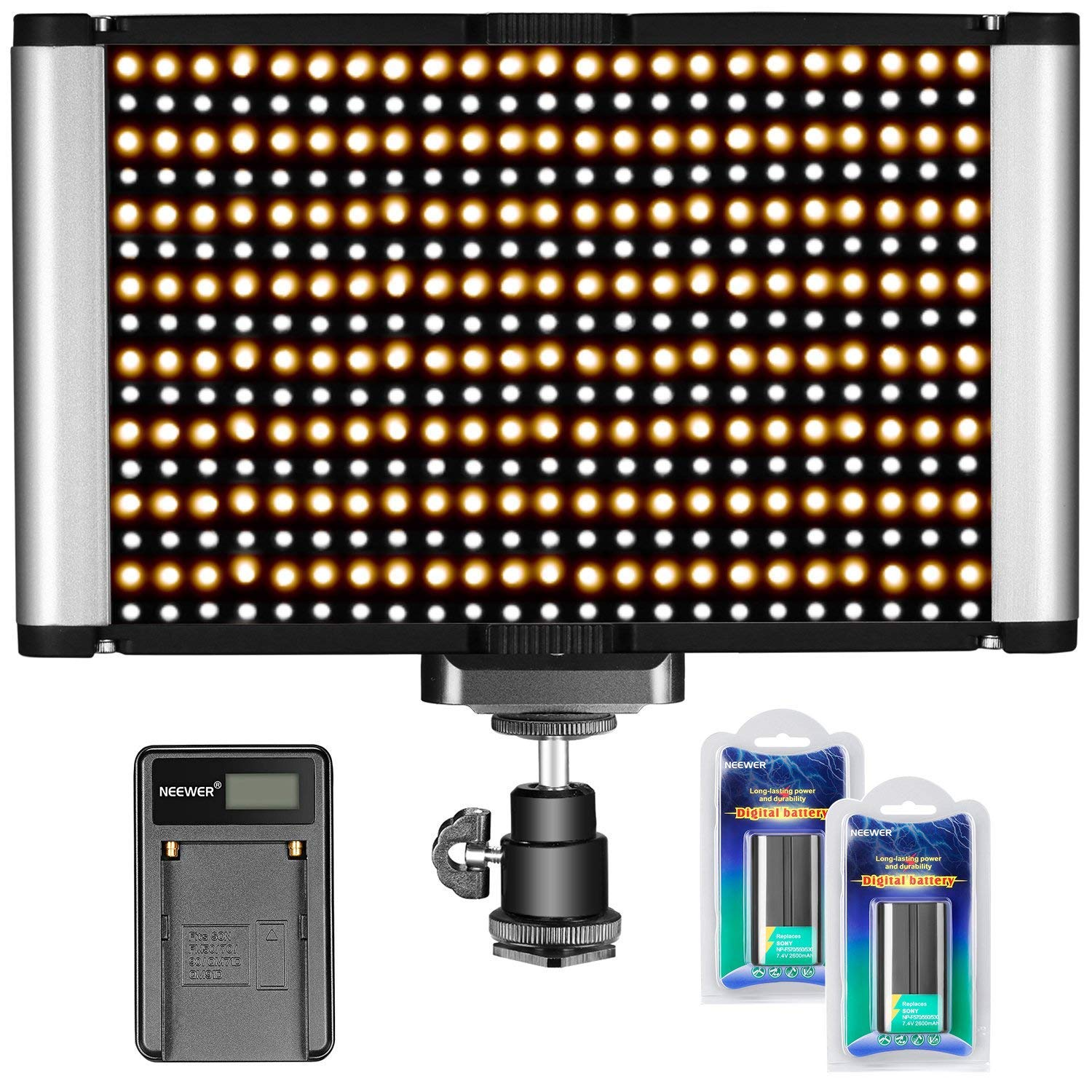 Neewer Dimmable Bi-Color 480 LED Video Light CRI 96+ 3200-5600K U Bracket, 2 Pieces Rechargeable Li-ion Battery USB Charger DSLR Camera Photo Studio Photography, YouTube Video Shooting 90090677@@##1