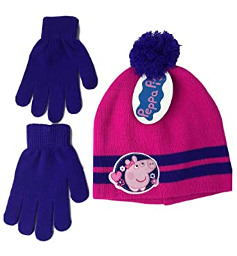 Peppa The Pig Girls 2 Piece Beanie Winter Hat and Glove Set Hot Pink and  Purple 1c9baa8b977c