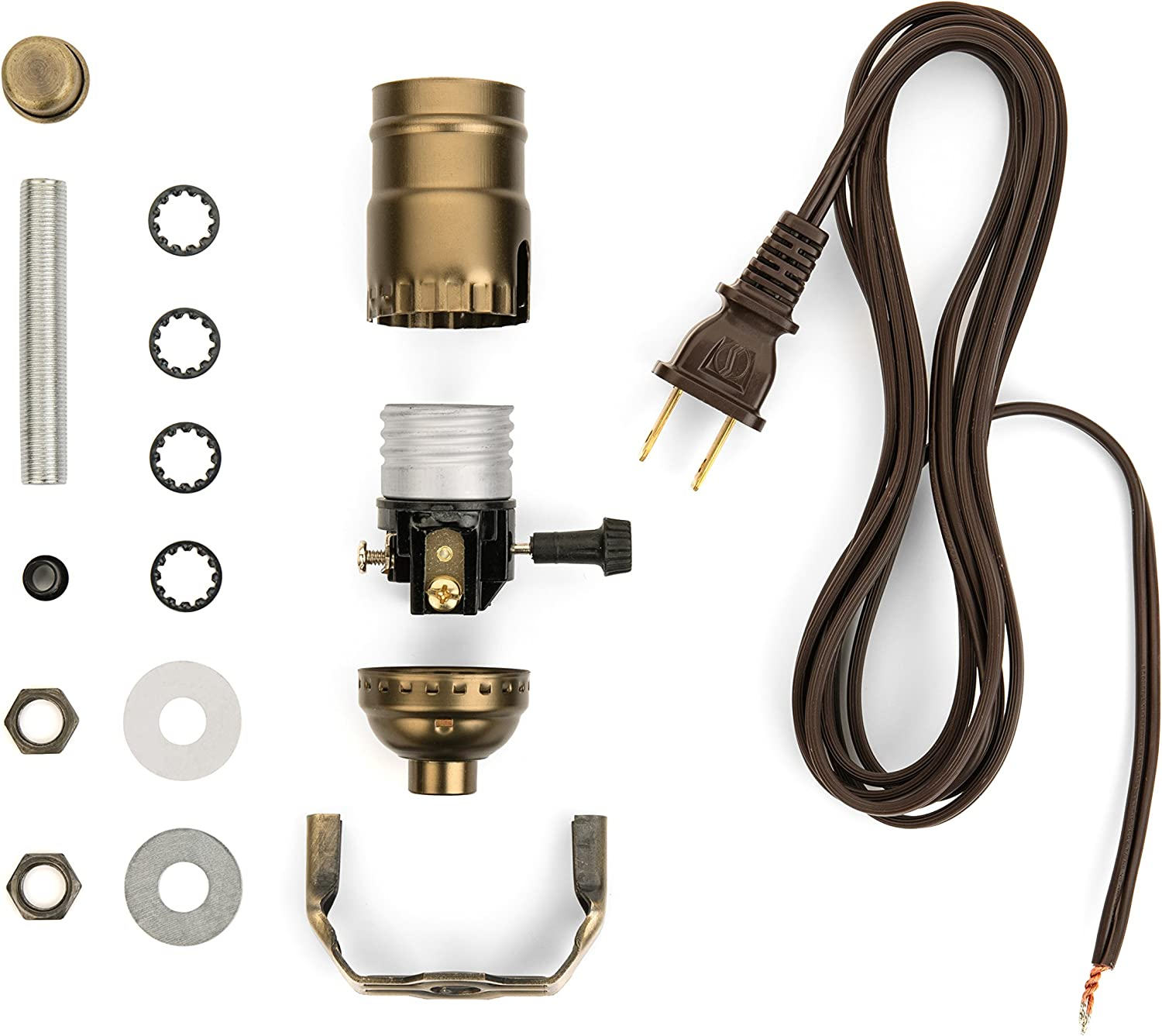 i like that lamp base socket kit electrical wiring set for making,  repairing & repurposing lamps antique brass socket with a long brown cord -  - amazon.com  amazon.com