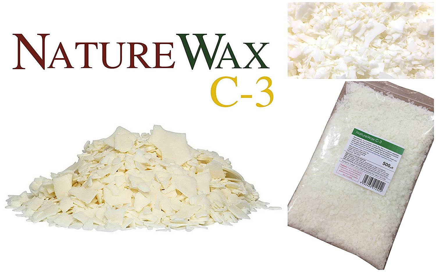 500g Naturewax C3 / C-3 Soy Container Candle Wax, - 100% Natural Soy / Soya Wax Kerax