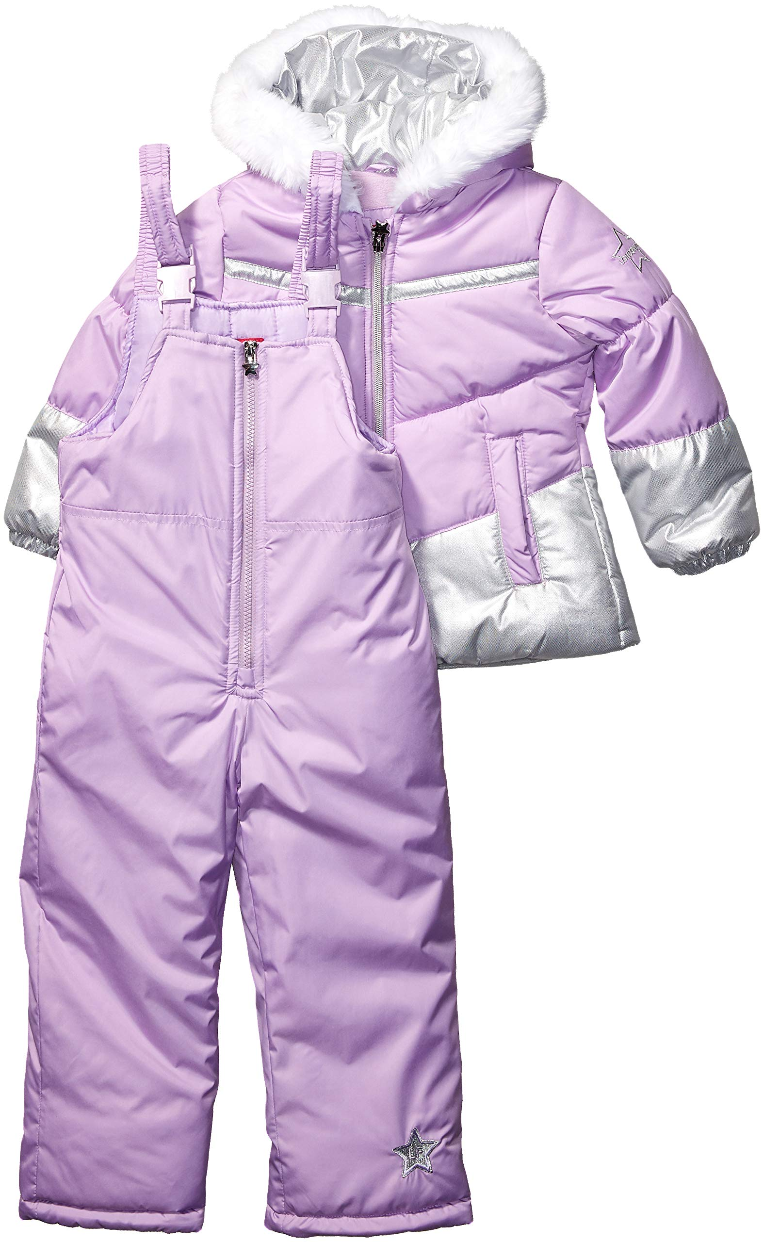 London Fog Girls' Toddler Snowsuit with Snowbib and Puffer Jacket, Violet Silver Foil, 4T by London Fog