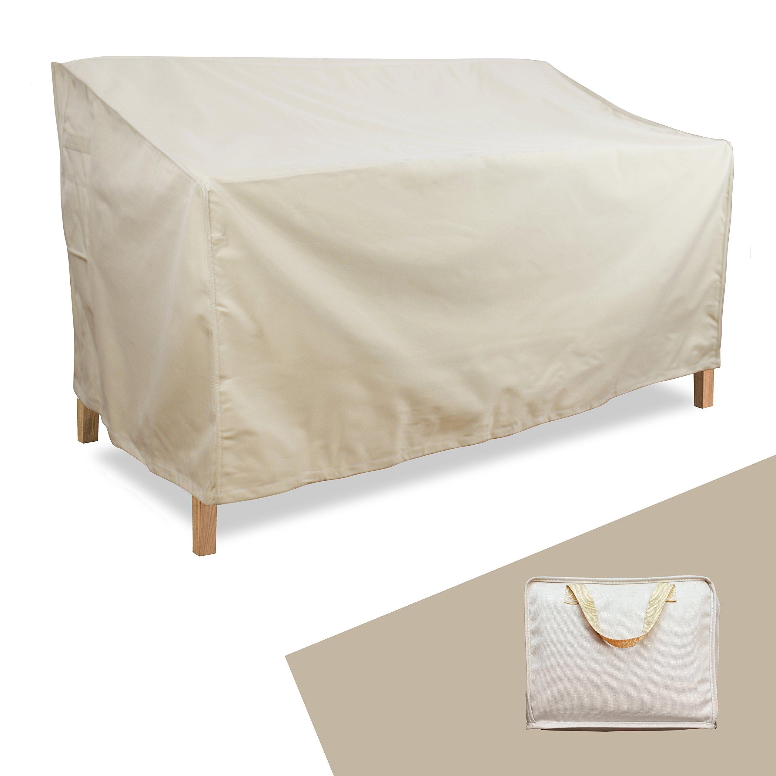 Gardzen Large Heavy-Duty Sofa/Loveseat Cover - Heavy Duty,Garden Furniture Cover, Out-Door Furniture Cover (88''(L) x 33'' (D) x 33'' (H), Khaki)