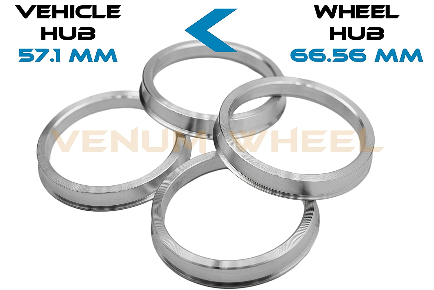 4 Pc Hub Centric Rings 57.1 ID To 66.56 OD Aluminum Color- (Vehicle - 57.1 mm)( Wheel-66.56 mm) VENUM WHEEL ACCESSORIES