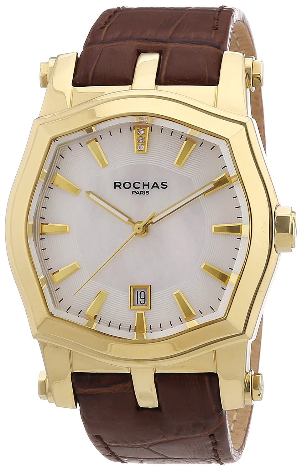 Rochas Herren-Armbanduhr XL Rochas De Luxe Men`s Collection 2012 Analog Quarz Leder RH9092D