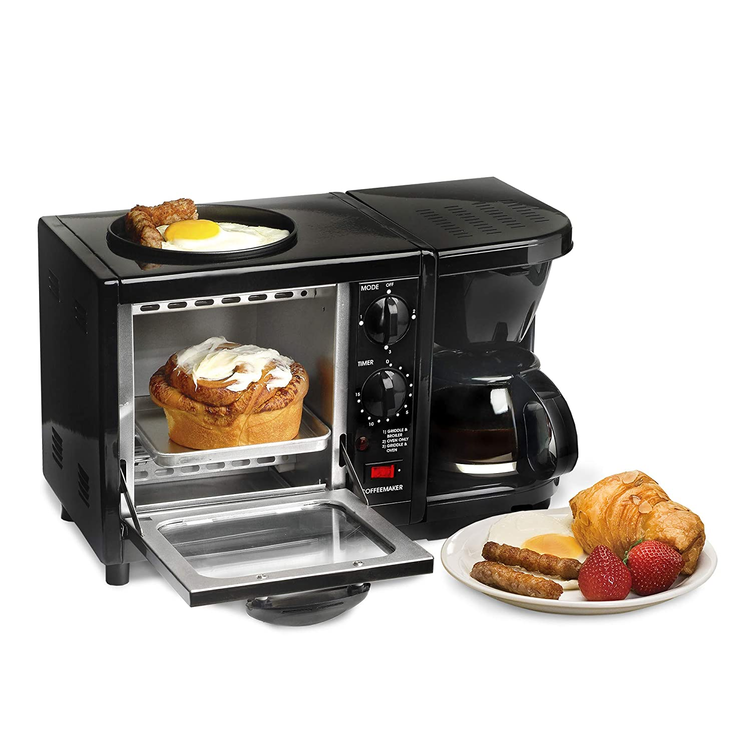 Elite Cuisine EBK-200B Maxi-Matic 3-in-1 Multifunction Breakfast Center, Black