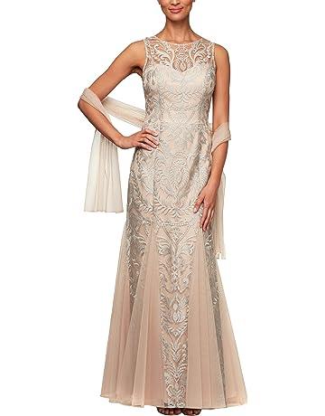de95ddc51f Alex Evenings Women's Embroidered Dress with Illusion Neckline