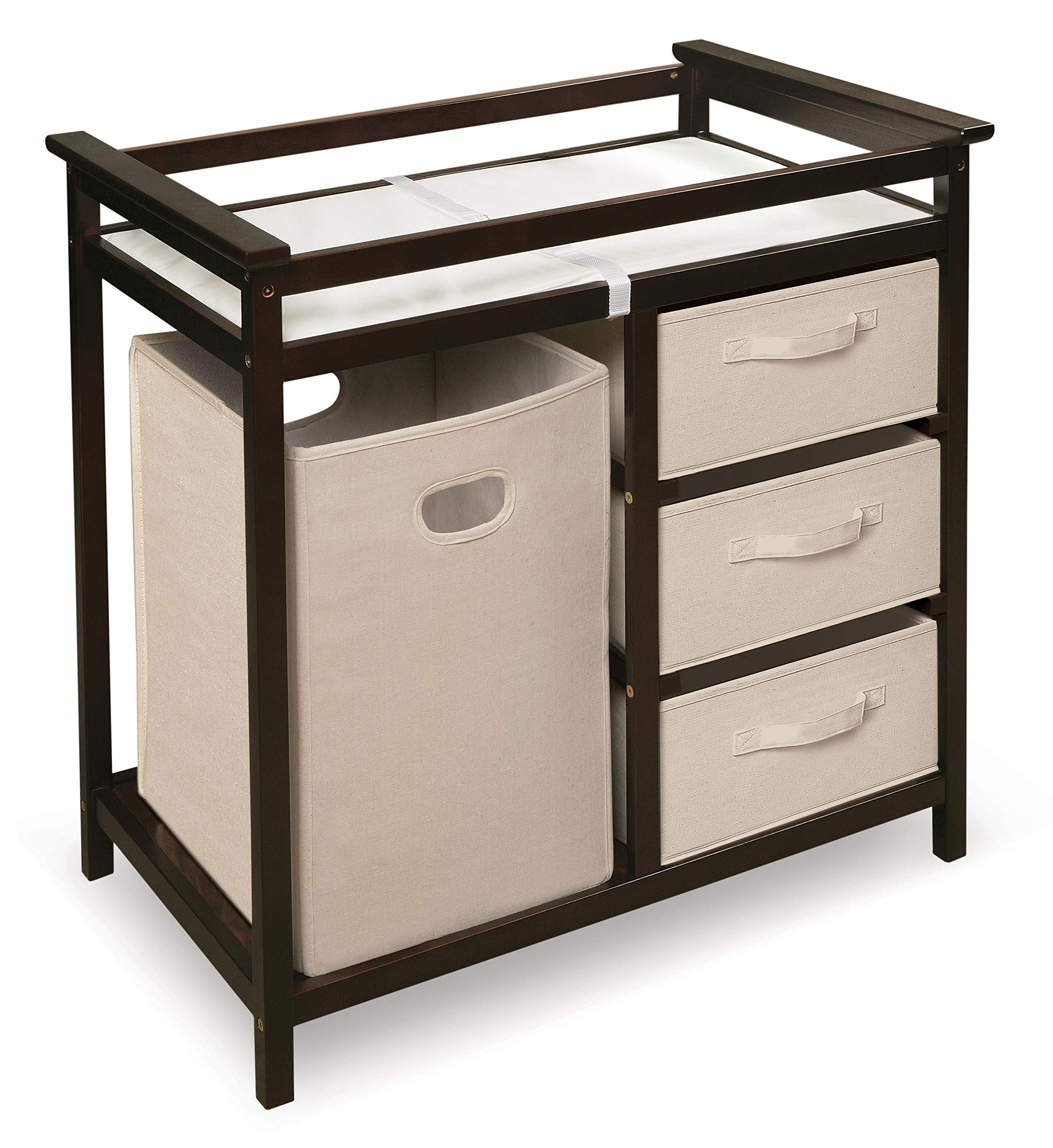 Modern Baby Changing Table with Laundry Hamper, 3 Storage Baskets, and Pad by Badger Basket
