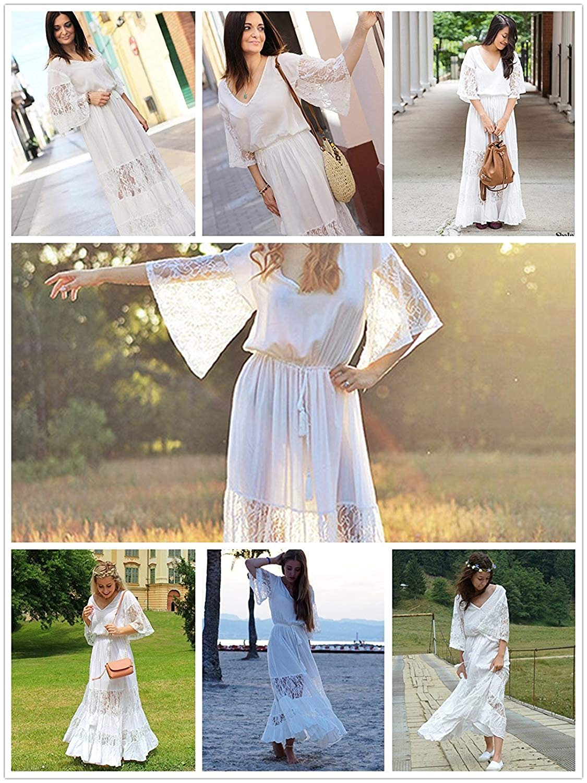 734a4105e53 Milumia Women's Bohemian Drawstring Waist Lace Splicing White Long Maxi  Dress at Amazon Women's Clothing store: