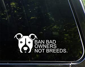 """Diamond Graphics Pit Bull - Ban Bad Owners Not Breeds (8-3/4"""" X 3-1/4"""") Die Cut Decal Bumper Sticker for Windows, Cars, Trucks, Laptops"""