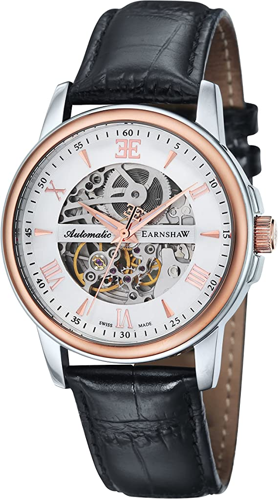 Thomas Earnshaw Men S Swiss Made Beagle Automatic Watch With White Dial Analogue Display And Black Leather Strap Es 0014 01 Amazon Co Uk Watches