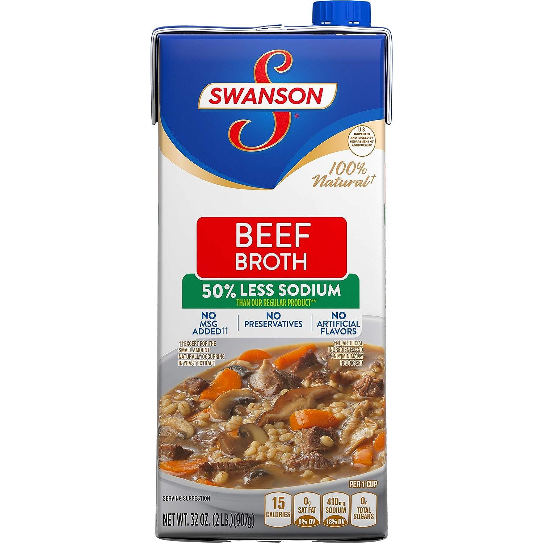Swanson 50% Less Sodium Beef Broth, 32 oz.
