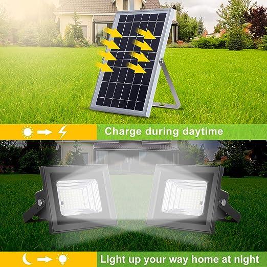50 LED Solarlampe Solarpanel Wandleuchte Strahler Outdoor Fernbedienung 6V 6W