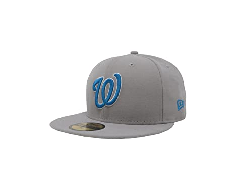 huge selection of 4d660 83681 New Era 59Fifty Hat Washington Nationals MLB Gray Fitted Headwear Cap (7)