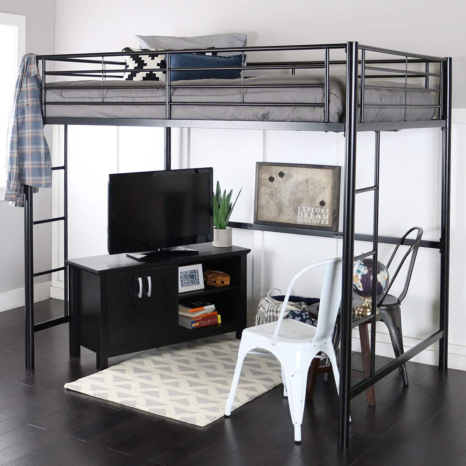 Full Size Bed With Desk Part - 15: Amazon.com: WE Furniture Full Size Metal Loft Bed, Back: Kitchen U0026 Dining