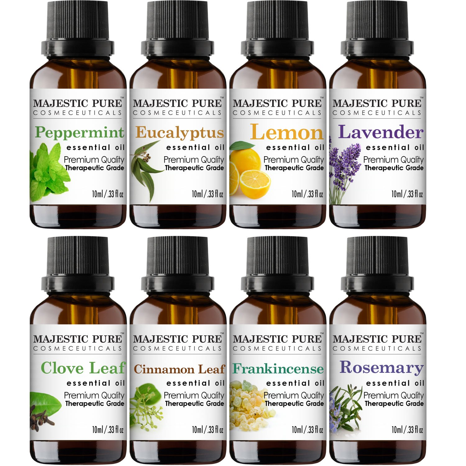 MajesticPure Aromatherapy Essential Oils Set, Includes Lavender, Frankincense, Peppermint, Eucalyptus, Lemon, Clove Leaf, Cinnamon Leaf & Rosemary Oils- Pack of 8-10 ml each by Majestic Pure (Image #4)