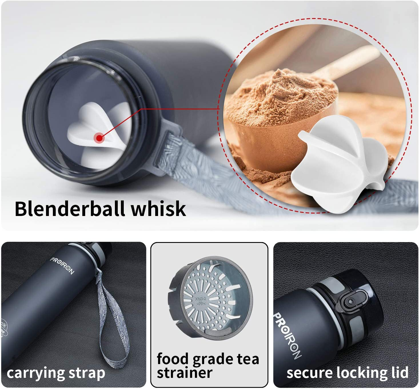 Viajes de Campamento PROIRON Botella Agua Deporte Tritan Sin BPA Botella Reutilizable para Senderismo al Aire Libre