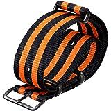 Bracelet de Montre ZULUDIVER® en Nylon, Militaire G10 NATO, Résistant et Solide, Qualité et Confort, Noir et Orange, 20mm ou 22mm