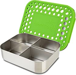 LunchBots Quad Stainless Steel Food Container - Four Section Design Perfect for Healthy Snacks, Sides, or Finger Foods On the Go - Eco-Friendly, Dishwasher Safe and BPA-Free - Green Dots