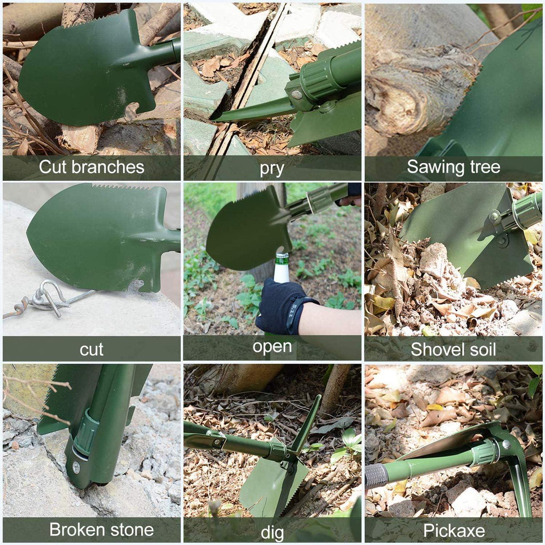 AKKlenz Mini Pelle Pliante Multifonction Militaire Portable Id/éal pour Le Jardinage Le Camping Les activit/és de Plein air et la Survie
