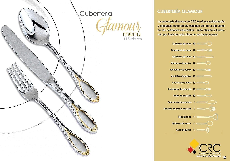 Glamour, cubertería de 113pzs diseñada en acero con motivos dorados + JUEGO DE CAFÉ DE REGALO: Amazon.es: Hogar