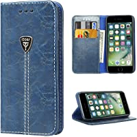 iPhone 7 Case, iPhone 7S Wallet Slim Magnetic Leather Wallet Protective Case with Strap and Kickstand Function Blue