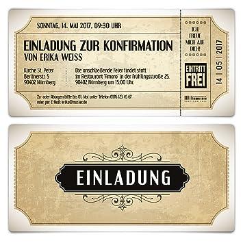 Konfirmation Einladungskarten (10 Stück)   Vintage Eintrittskarten In Weiß    Konfirmationskarten Einladung