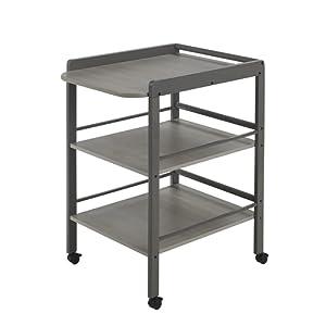 Geuther Table à Langer Clarissa grise - Plan à langer + 2 étagères