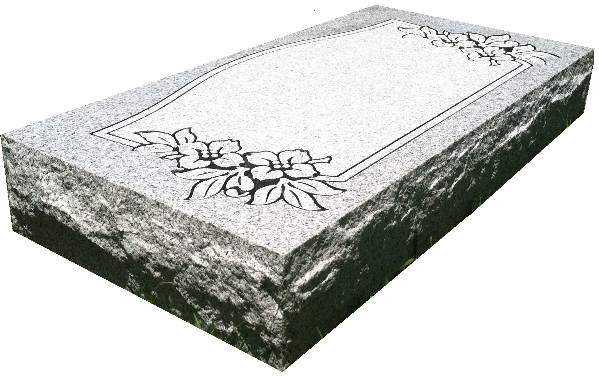 Upstate Stone Works Granite Headstone 24''x12''x4'' with Design (8 Options) by Upstate Stone Works