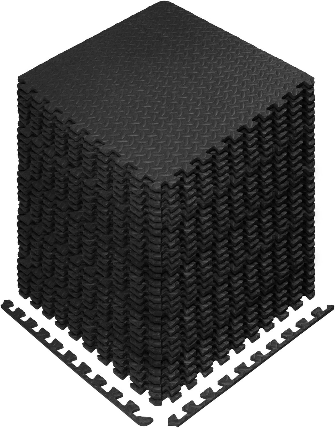 Yes4All Interlocking Exercise Foam Mats - 24 & 120 SqFt (Black or Gray)
