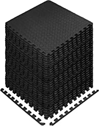 Yes4All Interlocking Exercise Foam Mats - 24 & 120 SqFt (Black or Gray)