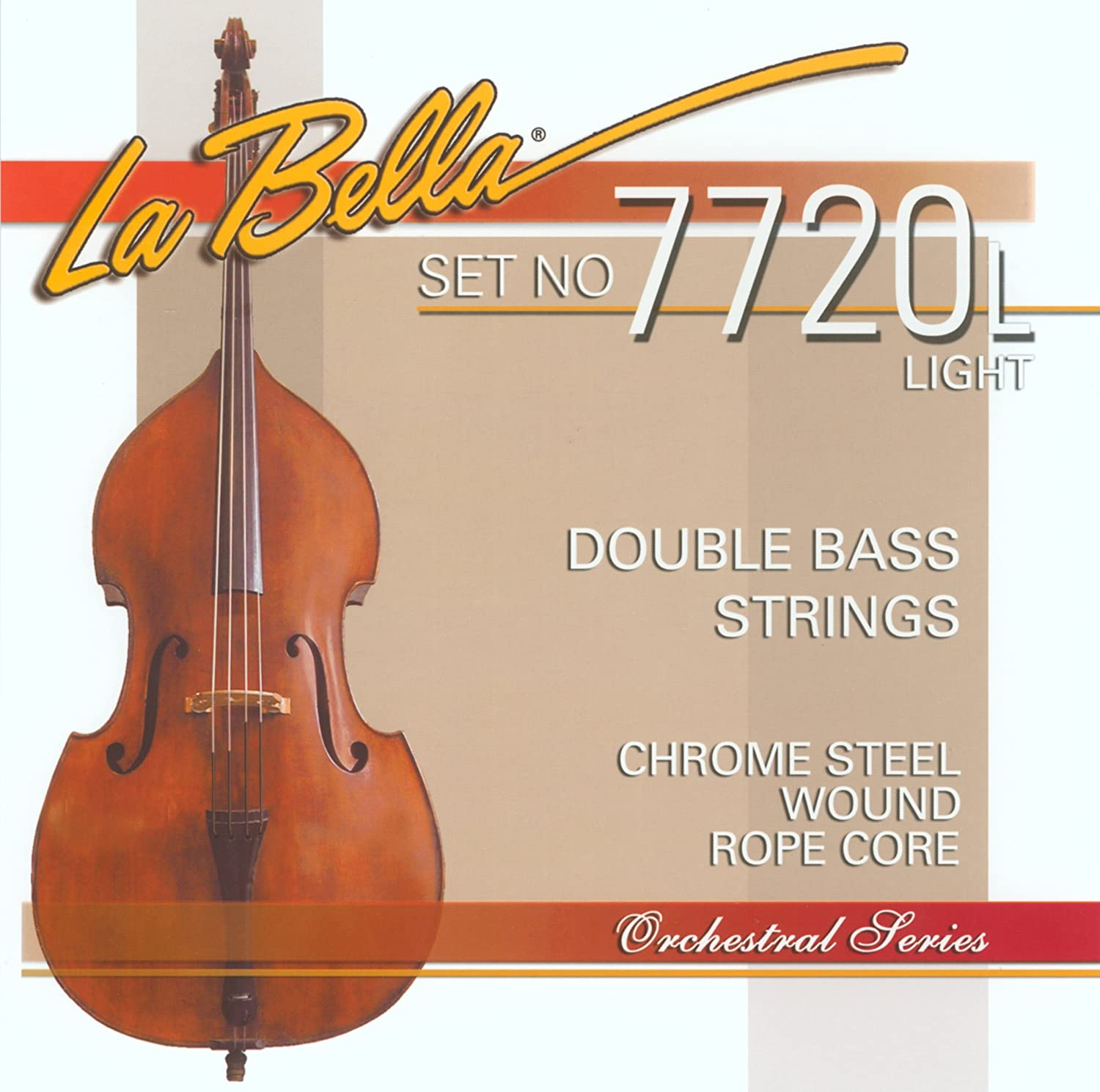La Bella 7720L/Orchestral/Light Tension/Double Bass Strings/Chrome Steel Flat Wound on a Rope Core   B00OOJG3SQ