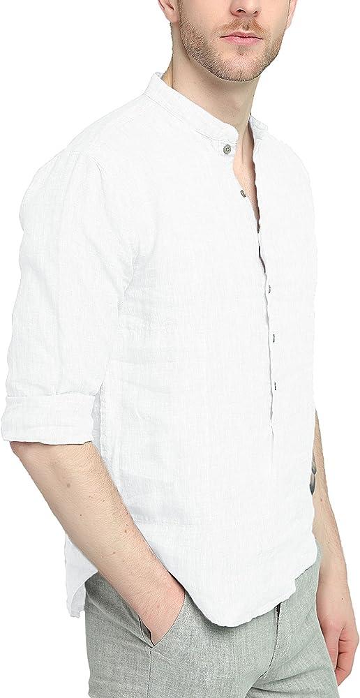 Najia Symbol Camisa Shirt Henley de 100% Lino Tela Hombre Manga Larga Cuello Mao (Blanco, L): Amazon.es: Ropa y accesorios