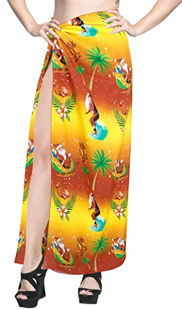 "391b0925a3 HAPPY BAY 3D HD Print Bikini Cover up Sarong Wrap Pareo Skirt Towel  Orange_X868 78"""