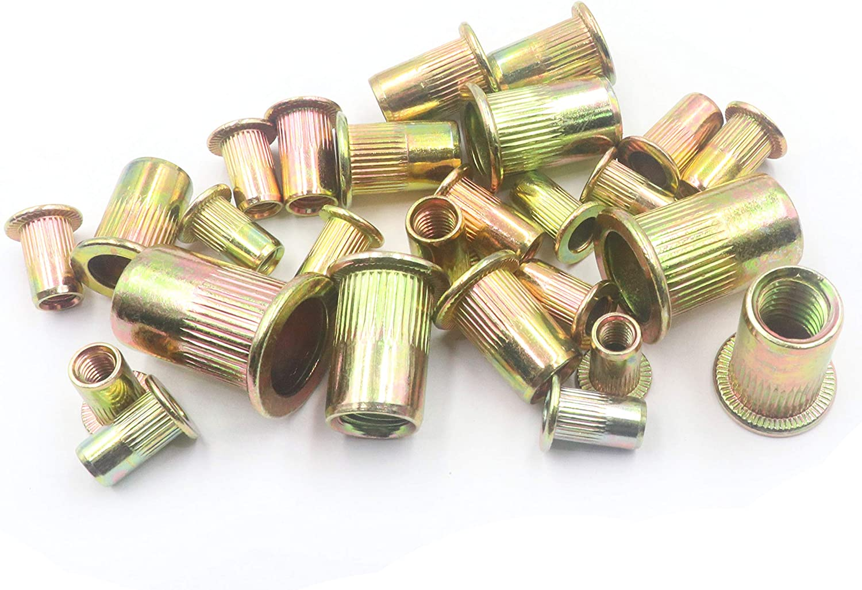 LBY 120pcs Carbon Steel Rivet Nuts,M4//5//6//8//10 Flat Head Thread Insert Nutsert Rivnut Assortment Kit,Carbon Steel Zinc-Plated Yellow