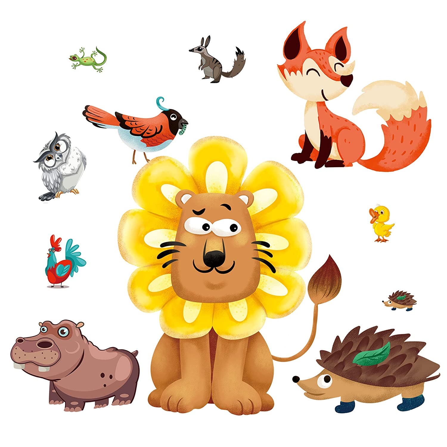 Removable 3D Giant Jungle Animals Wall Stickers Lion Owl Bird Fox Wall Decals Peel and Stick Art Decor for Kids Boys Baby Children Bedroom Living Room Bathroom Classroom Playroom Nursery (Lion)