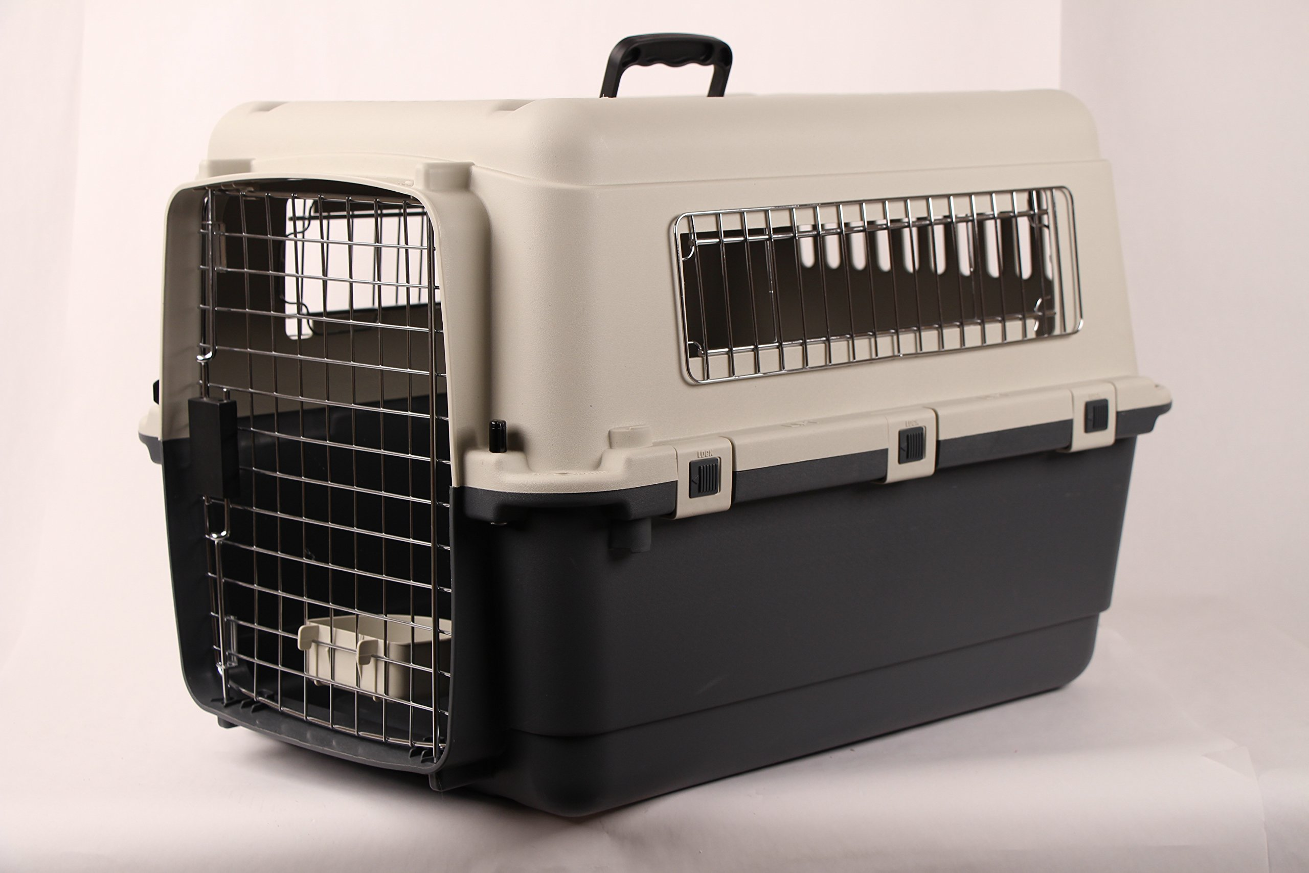 Pet Kennel Direct 27'' Airline Approved Plastic Dog / Cat Pet Kennel Carrier or Air Travel with Chrome Door and Free Cup Foldable Dog Travel Crate