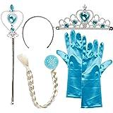 Vicloon - Set de déguisement de filles pour costume d'Elsa la Reine des Neiges - Diadème avec un diamant Bleu/Gants/Baguette magique/Tresse Blanche - 2-9 ans