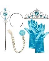 Vicloon, Set da Principessa Dei Ghiacci, Diadema, Guanti, Bacchetta Magica e Treccia a Clip 3-9 Anni, Azzurro