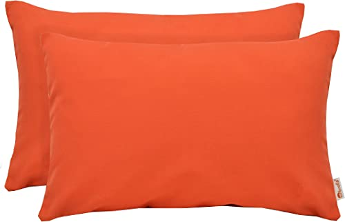 Set of 2 Indoor Outdoor Decorative Lumbar Throw Pillows Sunbrella Canvas Melon Vibrant Orange