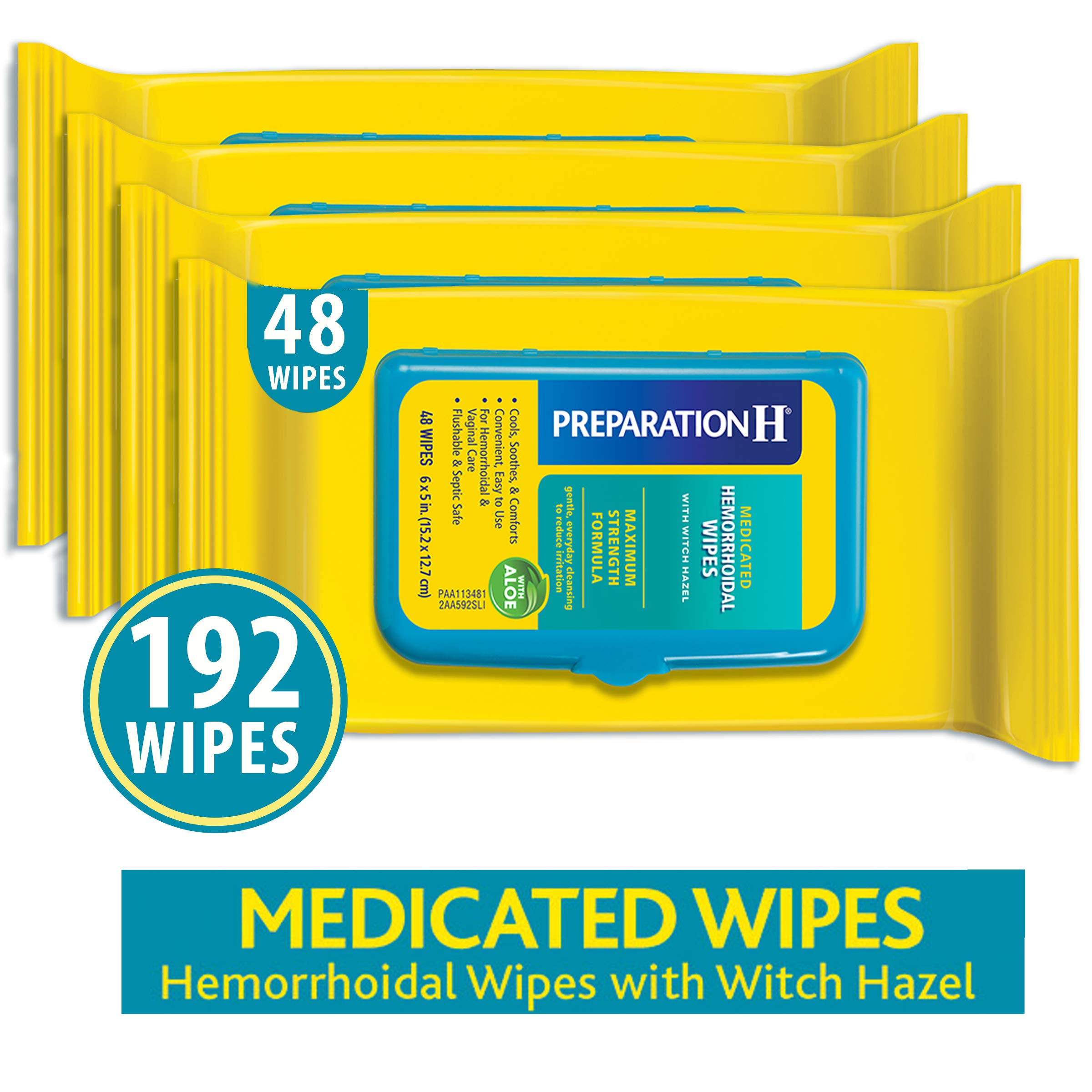Preparation H Flushable Medicated Hemorrhoid Wipes, Maximum Strength Relief with Witch Hazel and Aloe, Pouch (4 x 48 Count, 192 Count) by Preparation H