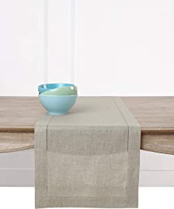 Solino Home Hemstitch Linen Table Runner - 14 x 72 Inch, Handcrafted from European Flax, Machine Washable Classic Hemstitch - Natural