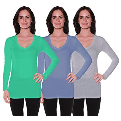 Active Basic Women's Long Sleeve V-Neck T Shirts 3 Pack(Blarny/Dst Blu/H Gry-1X)