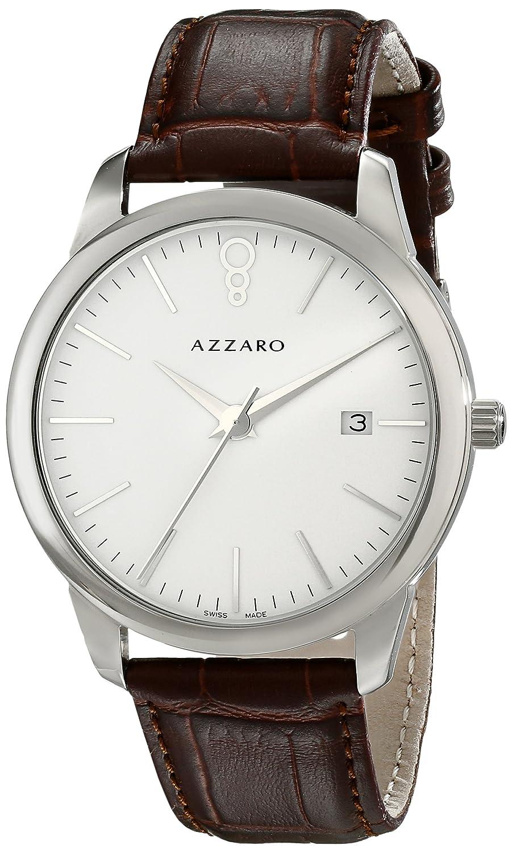 AZZARO LEGEND HERREN 40MM BRAUN LEDER ARMBAND MINERAL GLAS UHR AZ2040.12AH.000