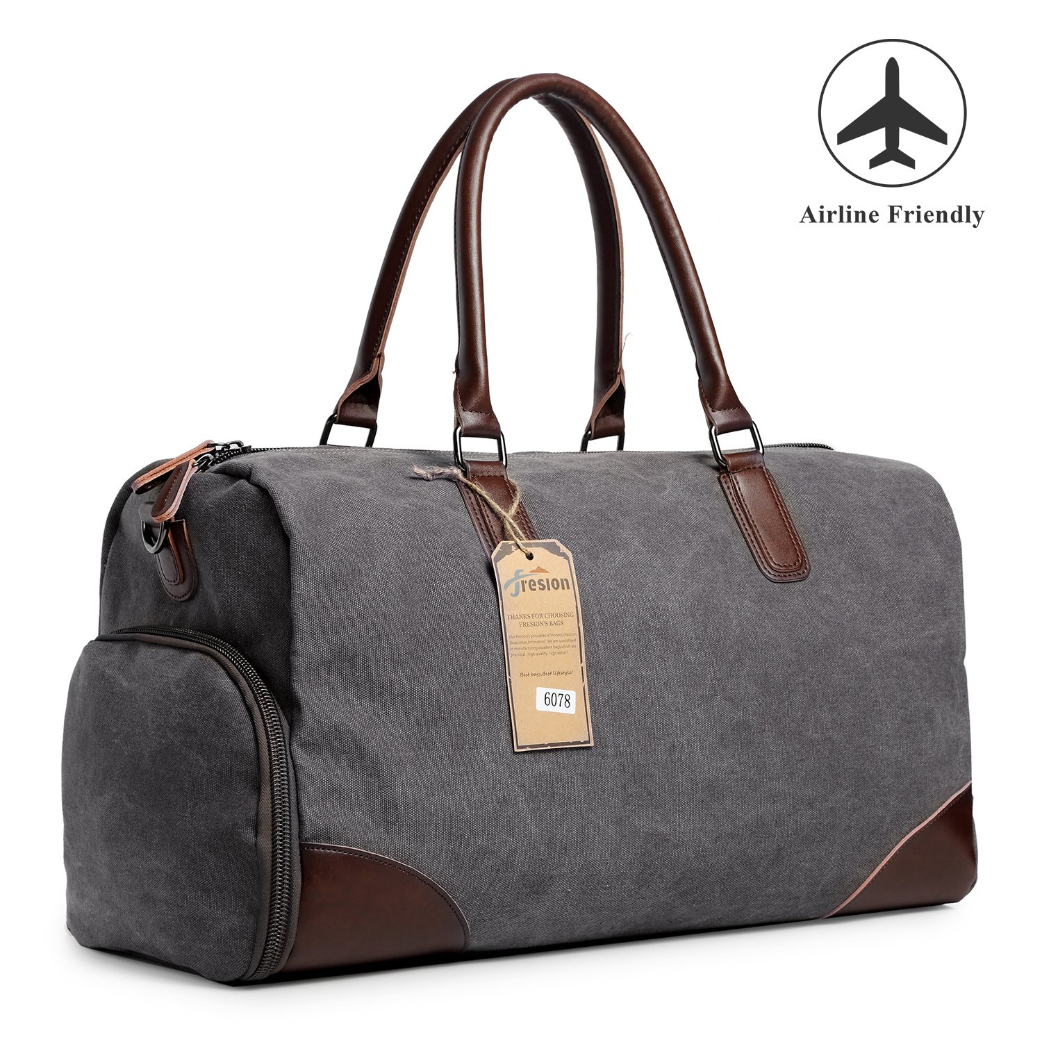 Fresion Canvas Duffel Leather Carry On Bag Weekend Overnight Tote Bag Men Shoe Pouch K6078