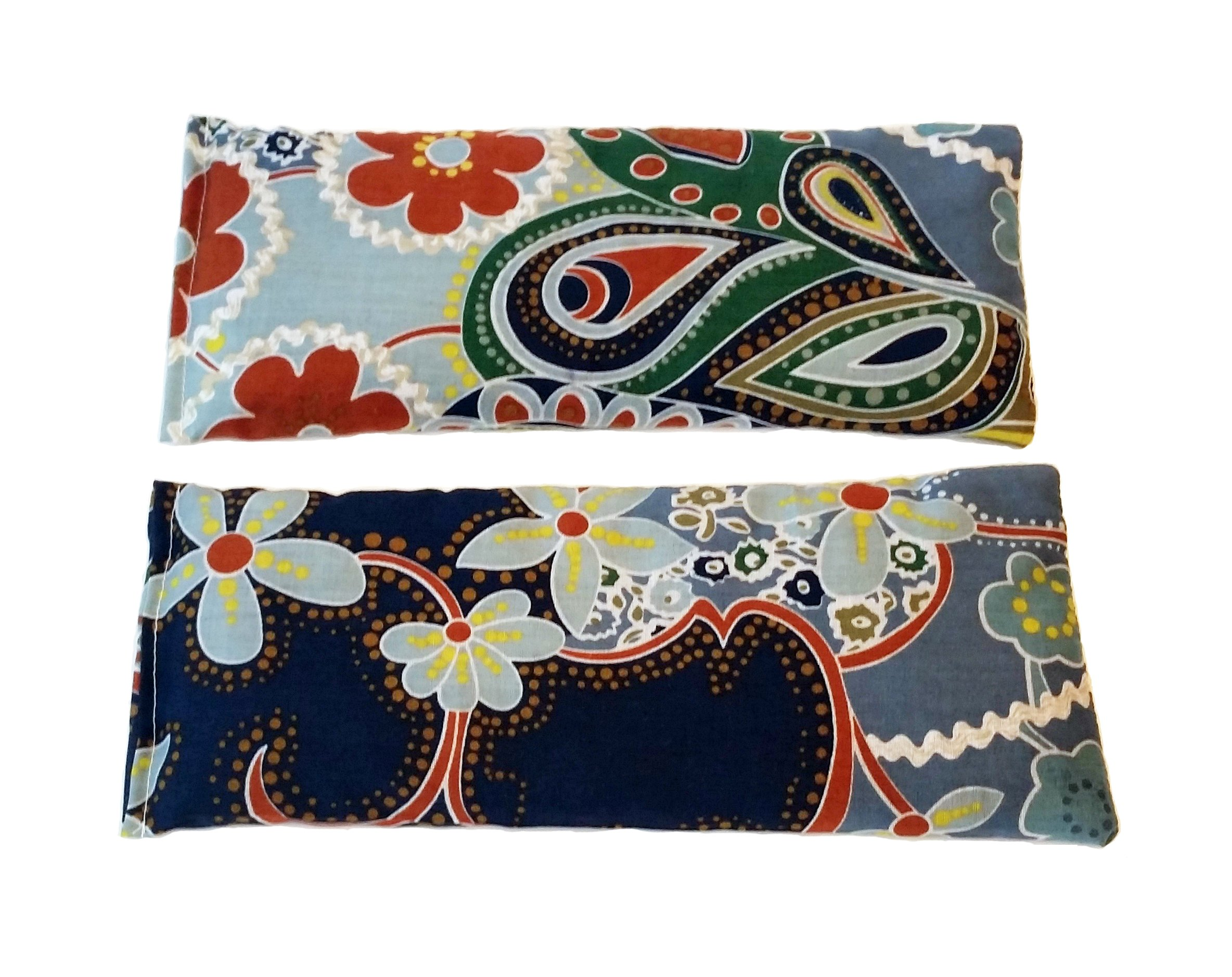 2 Hot/Cold Flaxseed Eye Pillows. 2 Microwavable Eye Pillows for Cold or Hot Therapy. Relieve Puffy or Dry Eyes. Eye Pads For Relaxing Warmth, Cooling Relief. Eye Mask for Sleep, Yoga. (Floral)
