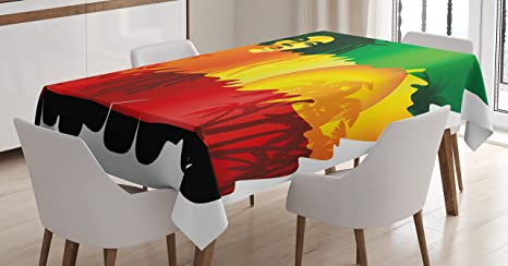 Amazon Com Ambesonne Rasta Tablecloth Iconic Reggae Music Singer Abstract Design With Sun And Palm Trees Rectangular Table Cover For Dining Room Kitchen Decor 60 X 90 Green Yellow Red And Orange Home