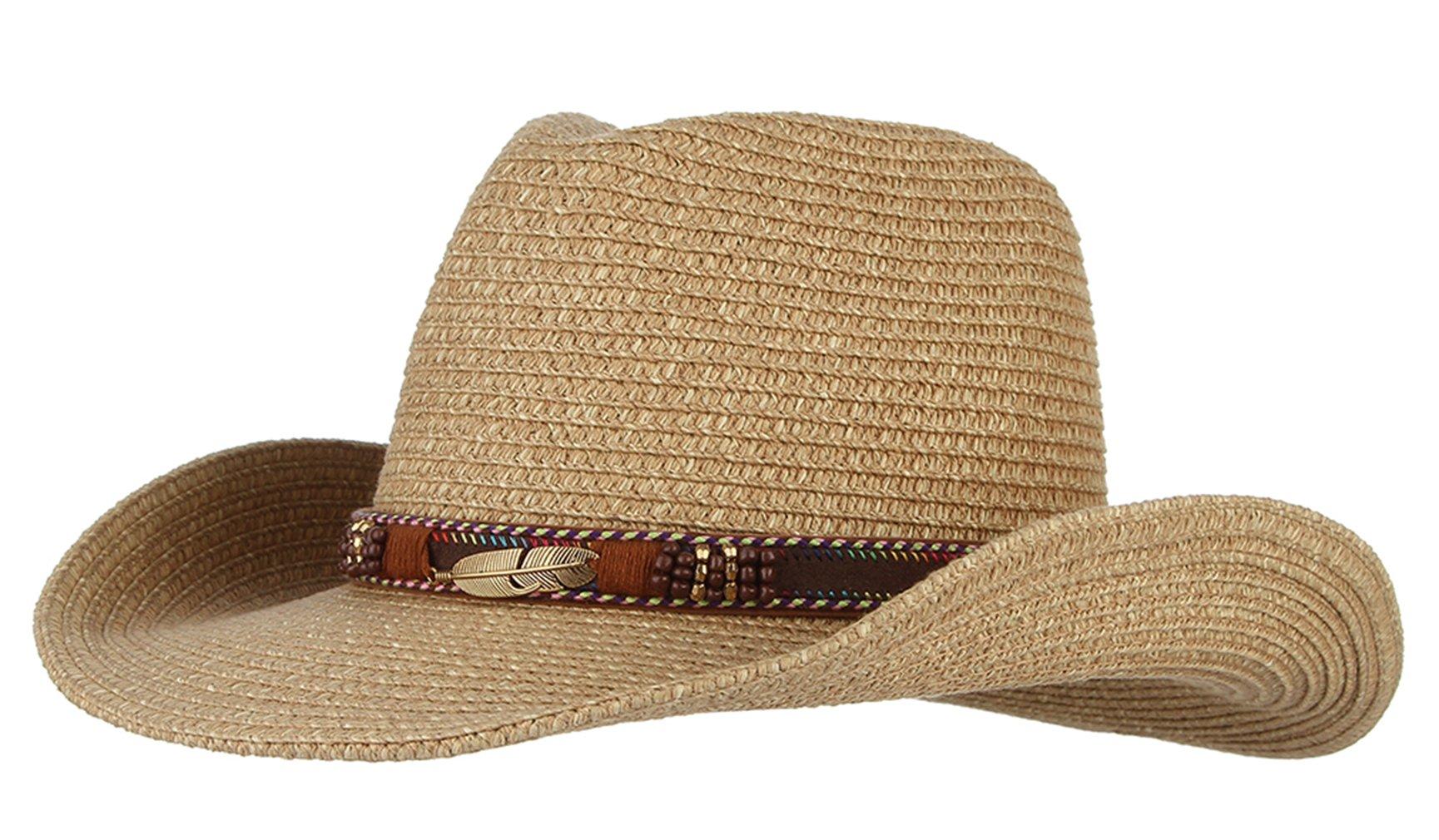 Gemvie Cowboy Hat Floppy Sun Hat Straw Summer Beach Cap Wide Brim Straw Hats Brown
