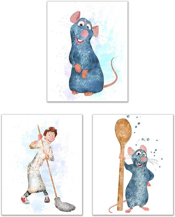 Disney Ratatouille Prints - Set of Three (8x10) Adorable Watercolor Photos