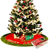 "Christmas Tree Skirt 48"" for Christmas Decorations With Exquisite Box Packaging - Pretty Holiday Dress with 20"" Length Omanments Christmas Stockings - Xmas Tree Decorations Red Skirt"