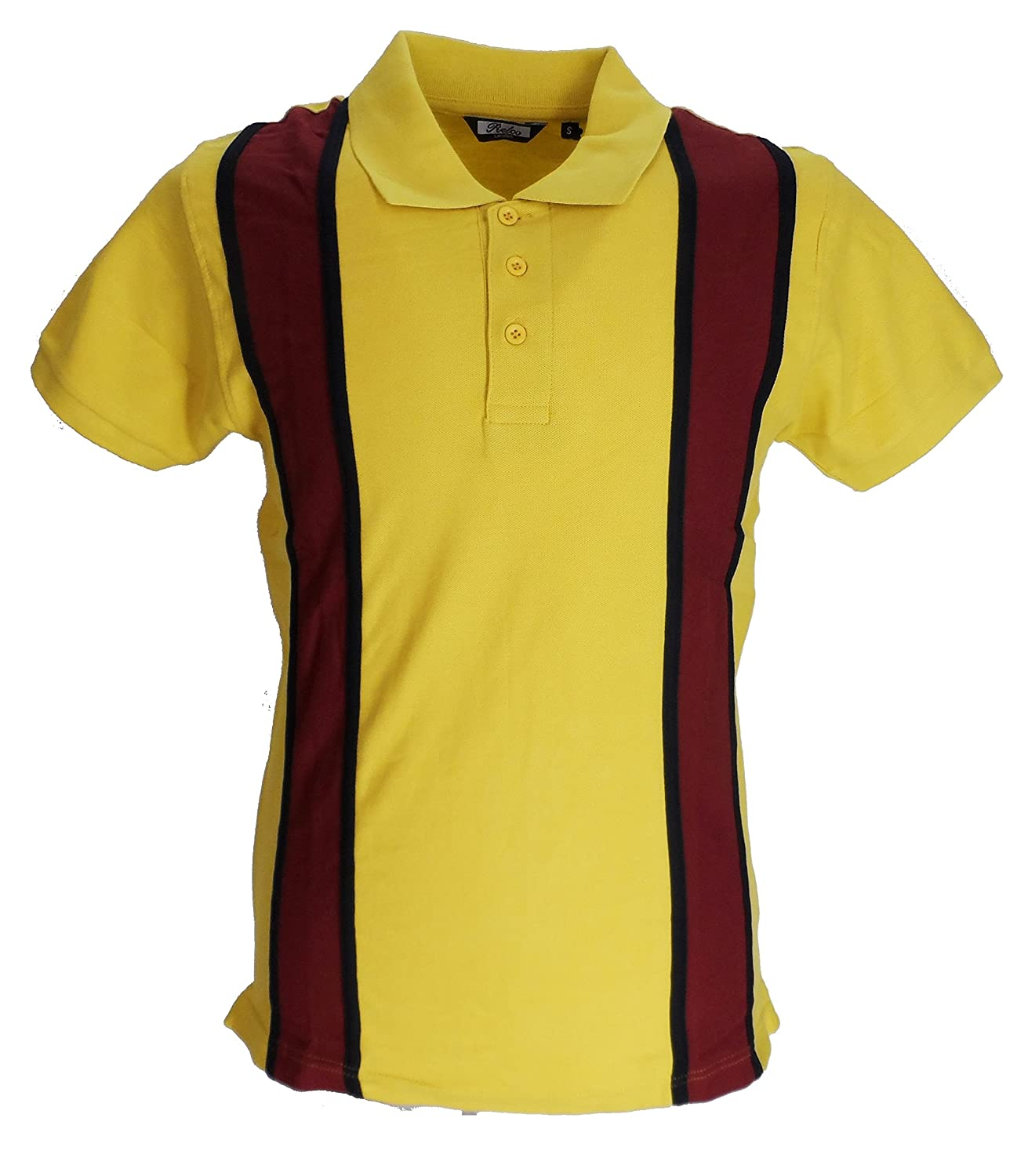 1960s – 70s Mens Shirts- Disco Shirts, Hippie Shirts Relco Mens Striped Vintage Polo Shirts Mustard/Burgundy £24.99 AT vintagedancer.com